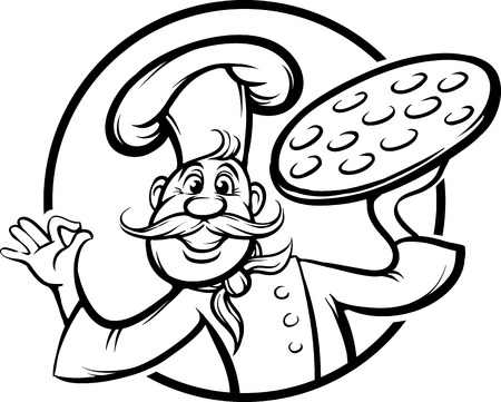 whiteboard drawing - cartoon pizza chef mascot Vector