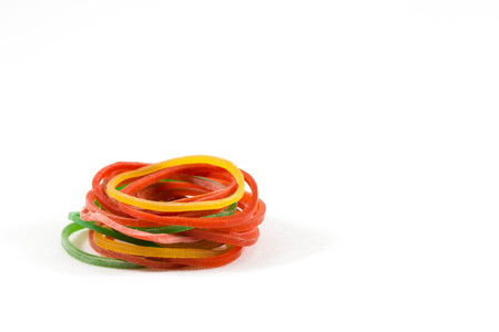 rubber bands: Pile of rubber bands with white background