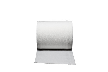 loo: Roll of tissue paper on white background