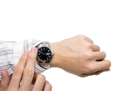 checking time: Checking time on wristwatch on white background