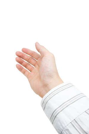 one hand: One hand gesture on white background Stock Photo