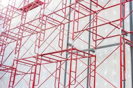 roof profile: Red steel structure at construction site
