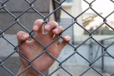 prisoner of war: Left human hand in the cage