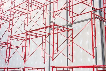 steelwork: Red steel structure at construction site