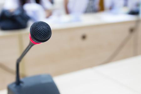 Black microphone in meeting room