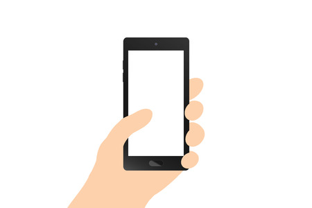 smart phone hand: Flat design, Hand holding black smart phone on white background