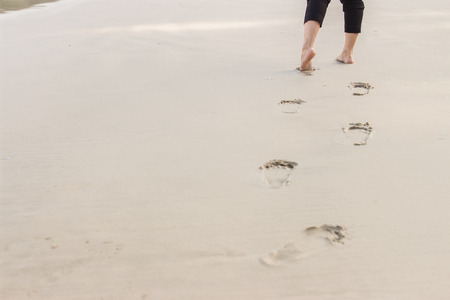 foot step: People foot step at the beach
