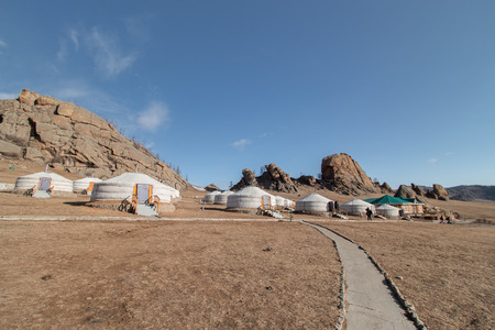 Mongolian camping house in the middle of the mountain