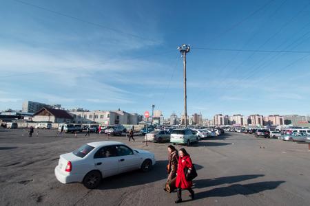 March 18th, 2018,  View at parking lot at Black market, Ulaanbaatar, Mongolia