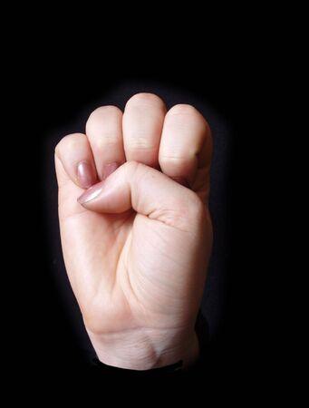 letra E en el lenguaje de signos para sordos  Foto de archivo - 344729