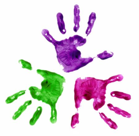 kindergarden: three finger painted hands in bright colors