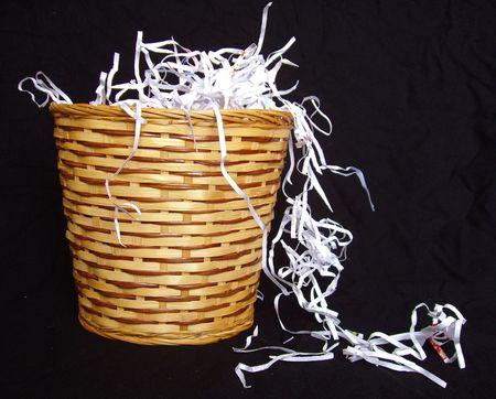 scrunched: shredded paper in waste basket Stock Photo