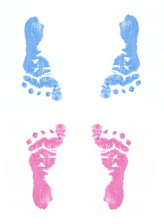 indent: footprints of boy and girl