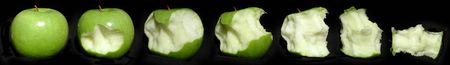 consecutive: Granny Smith apple eaten to the core