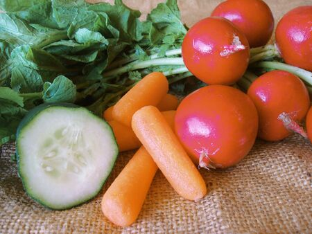 raddish: fresh cucumber carrot and raddish