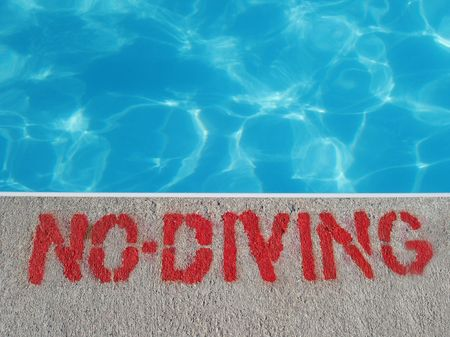 no diving sign: no diving sign Stock Photo