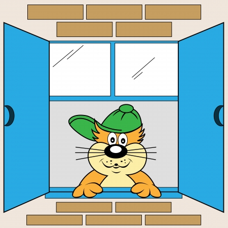 Cute cat cartoon character looking out the window wearing his green baseball cap