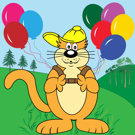 cartoons: Cute cat cartoon character in the park with a backpack of colorful balloons. Ideal setting for kids birthday card or party invitations. Illustration