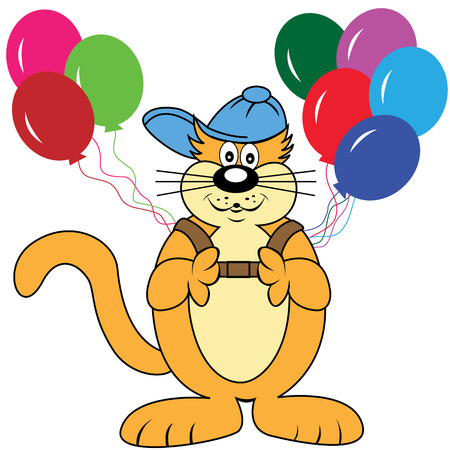 Cute cartoon cat character with a backpack of balloons wearing his cool baseball cap. Isolated on a white background Vector