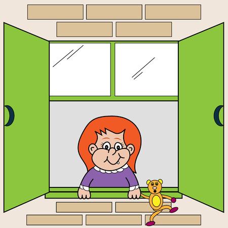 mirando: Cute peque�o ni�o que mira por la ventana sosteniendo su Oso de peluche que pesa sobre la ventana cornisa. Personajes de dibujos animados.