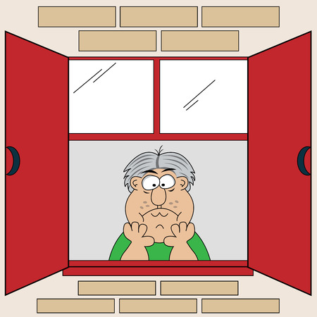 Glum, sad and bored old man looking out the window, head in his hands. Cartoon character.