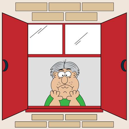 window open: Sombr�o, triste y aburrido viejo mirando por la ventana, la cabeza en sus manos. De dibujos animados. Vectores