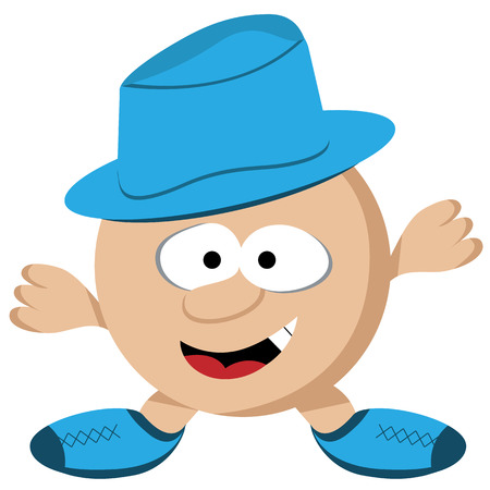 Cartoon round guy with short legs and arms wearing a blue hat. Comical face. Vector