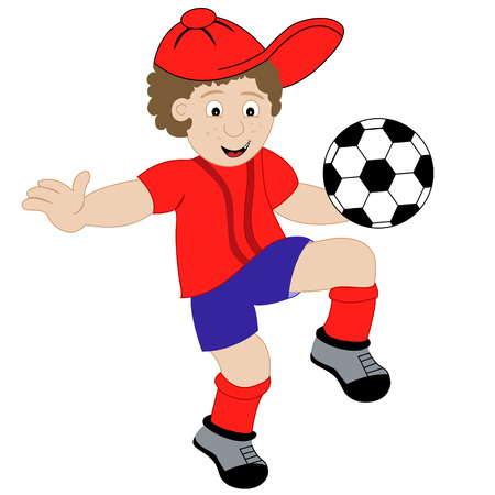 cute images: Young child cartoon character playing with his football, wearing his soccer kit. Isolated on a white background