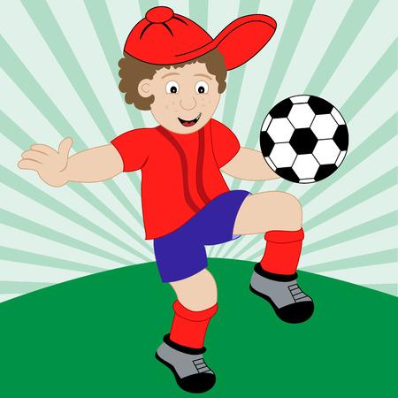 Ni�o jugando al f�tbol de dibujos animados usando su equipo de f�tbol. Foto de archivo - 4593758