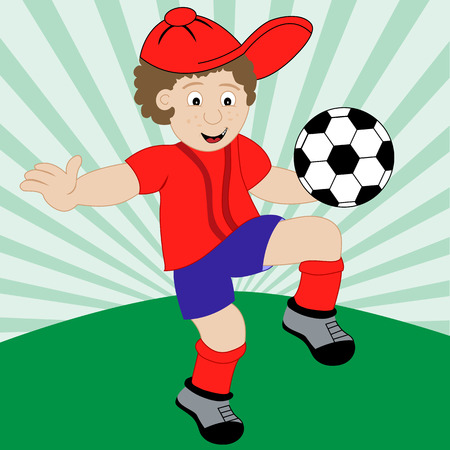 Young boy cartoon character playing football wearing his soccer kit. Vector