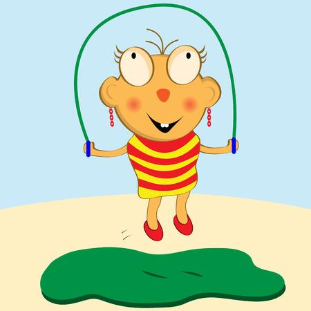 skipping: Cartoon girl having fun with her skipping rope