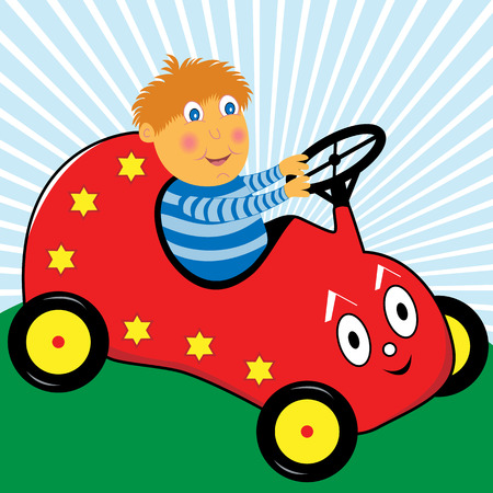 vector images: Cartoon boy enjoying himself driving his red pedal car Illustration