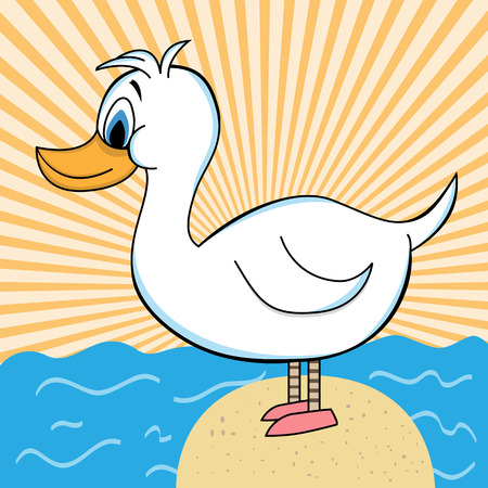 White duck cartoon standing on a rock surrounded by the ocean. Orange sunburst background. Stock Vector - 4788029