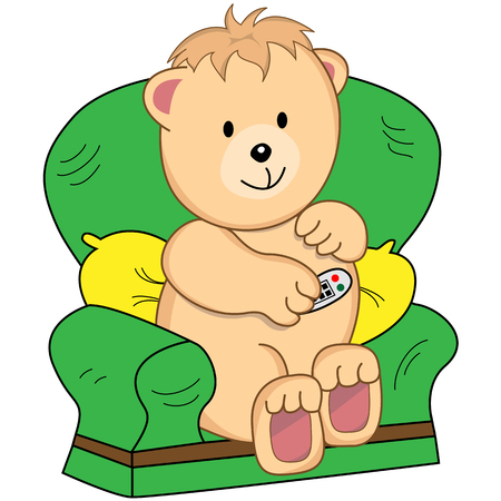 tv remote: Bear sitting in an armchair holding a TV remote control. Assumption is he is watching television. Cute cartoon character.