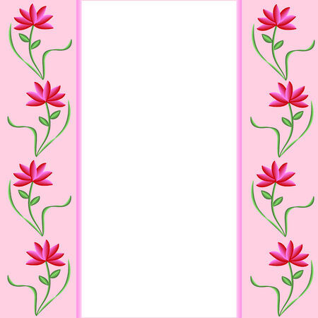 Pink borders with pretty pink and red flowers. White background  Stock Vector - 4824541