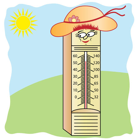 Thermometer cartoon character with a smiling face, wearing a summer hat with bow and flower. Sunshine in the background.