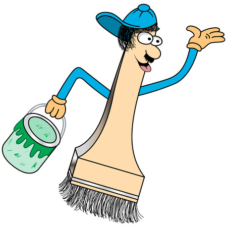 painting decorating: Paint brush cartoon character with a funny face and baseball cap holding a green pot of paint.