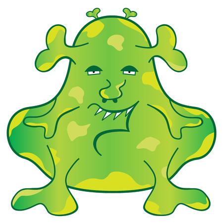 strange: Green blob monster with a weird evil face cartoon character Illustration