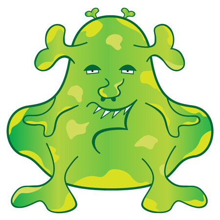 Monstre vert blob avec un personnage de dessin animé de weird face evil Vecteurs