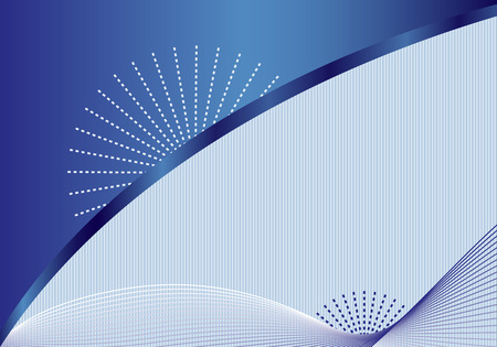 Abstract background with decorative elegant wavy lines, blue sunbursts, subtle striped background and space to add your own text. Vector