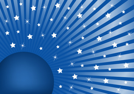 Blue sunburst background with various white stars giving a celebration feel to the design. Stock Vector - 5288626