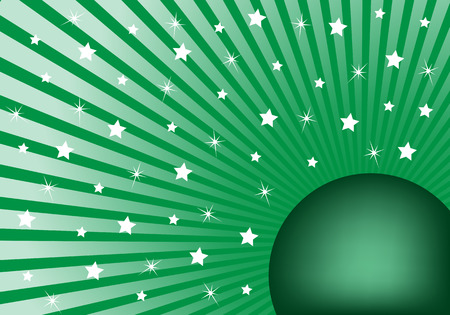 Green sunburst background with various white stars giving a celebration feel to the design. Small space to add copy text Illustration