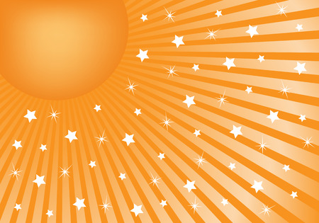 Orange sunburst background with various white stars giving a celebration feel to the design. Small space to add copy text Vector