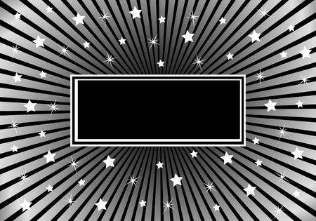 bursts: Sfondo nero e argento con vari sunburst stelle bianche dando una celebrazione stare al design. Spazio per aggiungere testo copia Vettoriali