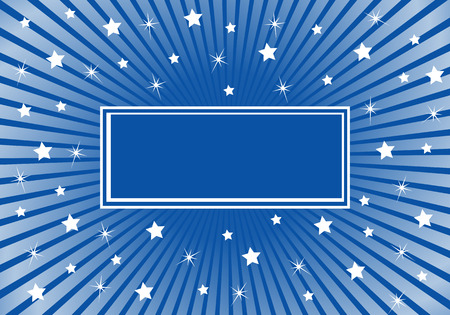 Blue sunburst background with various white stars giving a celebration feel to the design. Space to add copy text
