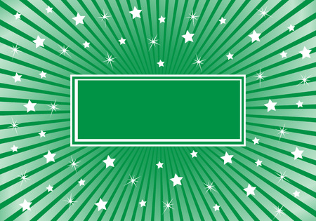 Green sunburst background with various white stars giving a celebration feel to the design. Space to add copy text Vector