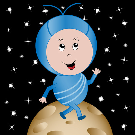 space: Cute happy alien child cartoon character walking on a planet with an outer space background