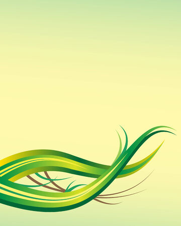 ample: Leaf abstract background template with ample copy space for text set on a green and yellow backdrop
