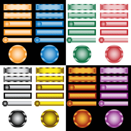 Web buttons set in assorted colors and designs  Illustration