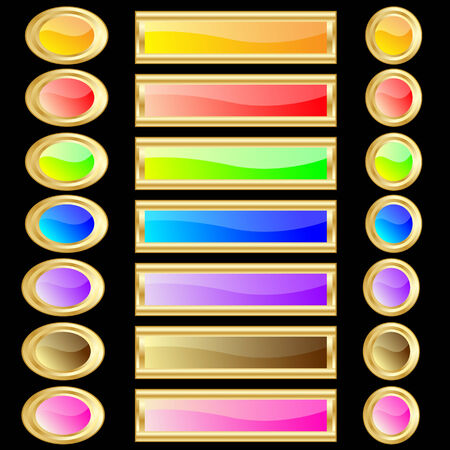 Web buttons various colors and shapes with gold rims